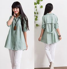 Loose Fitting Linen and Cotton Long Shirt Blouse for by deboy2000