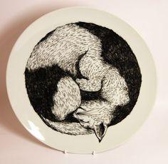Sleeping cat (black and white spot) £45.00