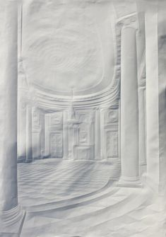 """""""Artist Simon Schubert creates intricate images of stately homes simply by folding plain white sheets of paper."""" Now that's just craziness. In a good way."""