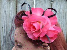 Rockabilly, Psychobilly, Pin Up Girl, Burlesque, Bridal, Wedding, Pink, Rose, Veil, Hair Clip, Fascinator. $35.00, via Etsy.