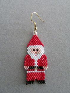 Items similar to Santa Claus Gnome Beaded Earrings on Etsy Beaded Earrings Patterns, Seed Bead Earrings, Beading Patterns, Etsy Earrings, Hoop Earrings, Beaded Christmas Ornaments, Christmas Earrings, Christmas Jewelry, Beading Needles