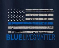 Blue Lives Matter American Flag Cops police protest Tee T-Shirt - Animetee - 1