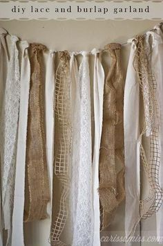 Diy burlap and lace garland. Find the lace at Railroad Towne Antique Mall, 319 W. 3rd St, Grand Island, 308-398-2222
