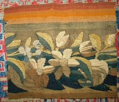 Lovely Antique French Aubusson Tapestry Wool Silk Fragment