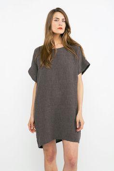 Georgia Dress in Linen Gauze Charcoal