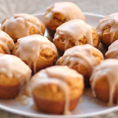 Pumpkin muffins I made for an office party... balanced pumpkin flavor and not too spicy.  Maple glaze is yum!