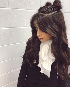 Listen to every Camilla Cabello track @ Iomoio Camila Cabello Hair, Camila And Lauren, Fifth Harmony, Gorgeous Makeup, Bun Hairstyles, Hair Looks, Bangs, My Hair, Hair Beauty