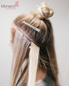 Proper placement of tape in extensions 91 hair pinterest monarch extensions top knot tape in method diagonal back section solutioingenieria