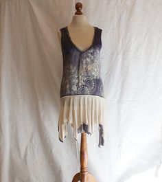 Sleeveless Purple Beige DressTunic Size M L Blouse Upcycled Woman's Clothing Casual Woman's Dress Funky Eco Upcycled Tunic Eco Friendly. $67.89, via Etsy.