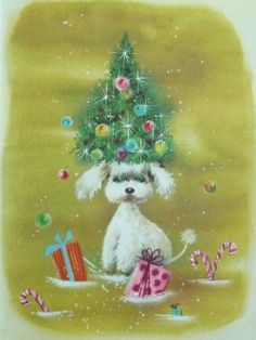 Beautiful Large UNUSED vintage Christmas greeting card NO envelopeMade in USASize; tall x wideExcellent conditionWould look GORGEOUS framedAdorable Puppy Dog from Retro Christmas Tree, Christmas Card Images, Vintage Christmas Images, Christmas Tree With Gifts, Vintage Holiday, Christmas Greeting Cards, Christmas Art, Christmas Greetings, Christmas Holidays