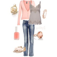 tank. jeans. cardigan. pink! Yes Please!!!
