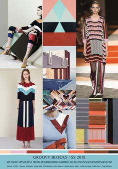 TrendSenses moodboard Groovy Blocks Spring Summer 2018 - Luxe Fashionably Ideas- New Trends - Luxe Fashionably Ideas- New Trends Today's Fashion Trends, Moda Fashion, Spring Summer Trends, Spring Summer 2018, Spring Art, Color Trends 2018, 2018 Color, Future Trends, Fashion Forecasting