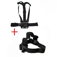 HGYBEST Eelastic Chest Strap and Head Strap Set for GOPRO - Black