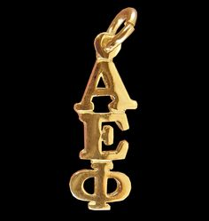 Alpha Epsilon Phi Sorority 10k or 14k Gold Greek Letter Drop Lavalier available in Good Things From Louisiana, an ebay store.