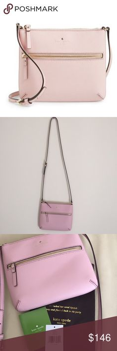 kate spade Cedar Street Tenley Crossbody Bag A front zip pocket details a slender crossbody bag crafted in lavish crosshatched leather and fitted with an adjustable strap in a beautiful light pink color!   Exterior zip pocket. Top zip closure. Interior wall pocket. Dot-jacquard lining. 100% Saffiano Leather. By kate spade new york.  In brand new condition with original tags and dust bag!  Also on Ⓜ️! kate spade Bags Crossbody Bags
