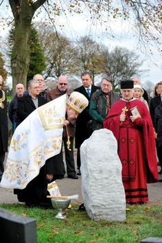 The memorial stone is blessed by, left, the Very Rev Bohdan Matwijczuk and the Parish Priest Salesian of St John Bosco, Ewhen Nebesniak