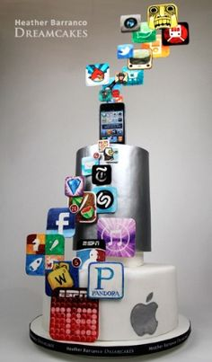 5 Bar & Bat Mitzvah Cake Ideas - iPhone Apps Cake by Heather Barranco Crazy Cakes, Fancy Cakes, Bar Mitzvah Themes, Bat Mitzvah, Cupcakes, Cupcake Cakes, Amazing Cakes, Beautiful Cakes, Fondant