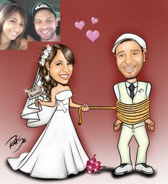 Caricaturas digitais, desenhos animados, ilustração, caricatura realista: Casal romântico