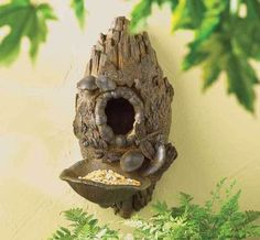 Large Birdhouse with Bird Seed Feeder Tray on Front Rustic Tree Stump Log