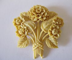 Brooches : HUGE CARVED CELLULOID FLORAL FLOWER BROOCH