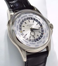 Patek Philippe 5130G 18K White Gold World Time Silver Dial Watch MINT