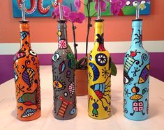 Miro Inspired Contemporary Hand Painted Glass Bottles for Oils, Vinegars, Soaps, Liqueurs; Painted Glass Bottles, Glass Bottle Crafts, Wine Bottle Art, Lighted Wine Bottles, Bottle Lights, Decorated Bottles, Liquor Bottles, Christmas Wine Bottles, Bottle Painting