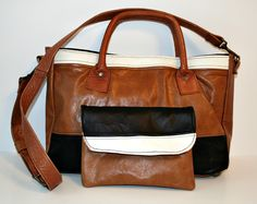 Recycled Black Brown White Leather Shoulder Bag Tote by rookierags