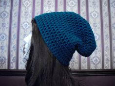 Teen Adult Size Blue Slouch Hat Slouchy by MarlowsGiftCottage, $20.00