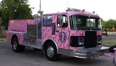 Breast Cancer Awareness fire truck...now, put out my fire with one of these!