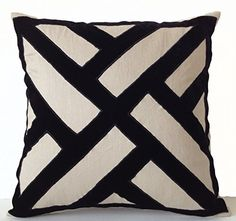 """Decorative Throw Pillow Case in Grey Linen with Black Velvet Applique Chippendale Design - Handcrafted Accent Pillow Cover - Geometric Pattern Toss Pillowcase - Wedding Anniversary Housewarming Gifts (14"""" x 14"""") Amore Beaute http://smile.amazon.com/dp/B00U2CLK5K/ref=cm_sw_r_pi_dp_yxh5vb0MPTA2R"""