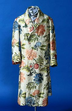 Man's banyan, silk, 18th century (remade at least once), English, silk produced in Spitalfields section of London, UK.