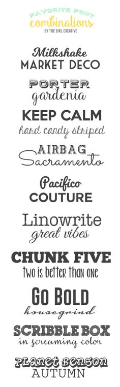 Favorite Font Combinations                                                                                                                                                                                 More