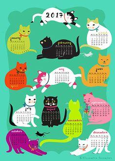 Gatos para descargar calendario 2017 y del uno mismo por sevenstar