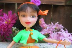 Aimee #1 - Ooak Bratz Doll, repainted, up-cycled, recycled, Rose Petal Dolls, Black hair Brown eyes, girly, garden party dress,  tea by RosePetalDolls on Etsy