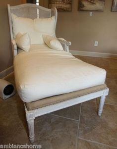 White Washed Carved Wing Back Cane Chaise Lounge Aidan Gray Linen Upholstery | eBay