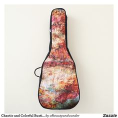 Chaotic and Colorful Rustic Design Guitar Bag - modern gifts cyo gift ideas personalize Diy Rustic Decor, Rustic Bench, Rustic Lamps, Rustic Outdoor, Rustic Design, Rustic Style, Rustic Gifts, Rustic Chandelier, Rustic Theme