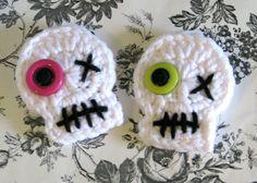 Skull Hair Clips  3 Crochet Skull Skeleton by MaggiesCraftSale