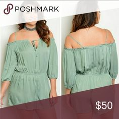 Sage Plus Size Romper NWOT, never worn. Really pretty romper! ▪Off the shoulder top with spaghetti straps for added support ▪Very light, airy, breathable material Size: Pants Jumpsuits & Rompers Plus Size Romper, New Green, Fashion Design, Fashion Tips, Fashion Trends, Plus Size Fashion, Rompers, Womens Fashion, Jumpsuits