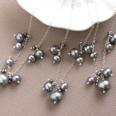 Bridesmaid Gift Set- 3 Bubbles Necklaces- Grey Freshwater Pearls in Sterling Silver. $102.50, via Etsy.