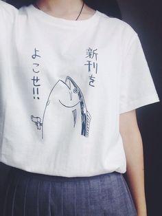 Harajuku T Shirt Japanese Fish Free shipping