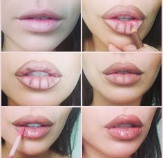 **Secret lip plumping trick to give you those gorgeous Angelina Jolie lips!** Rimmel 1000 kisses lip liner in tiramisu blended then MAC plush glass lipgloss in ample pink over the top