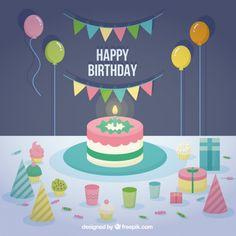 Flat Happy Birthday Card Free Vector