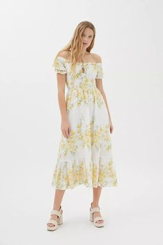 Kiss The Sky Versaille Floral Maxi Dress | Urban Outfitters Corsage, Sky Online, Urban Outfitters, Floral Print Maxi Dress, Urban Dresses, Ruffle Trim, Smocking, Off The Shoulder, Bodice