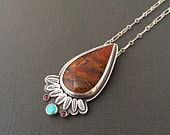 agate feather statement necklace - turquiose necklace - garnet necklace - unique necklace - agate jewelry