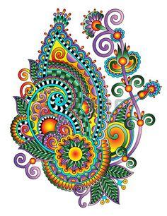 Original hand draw line art ornate flower design Ukrainian traditional style Raster version Zentangle Drawings, Art Drawings, Arte Shabby Chic, Wal Art, Paisley Art, Tangle Art, Doodle Designs, Mandala Painting, Mandala Coloring