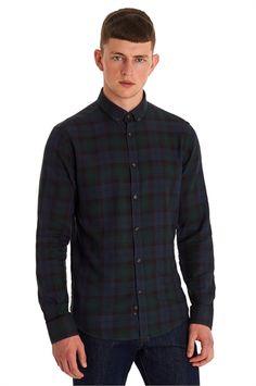 Moss London Slim Fit Green Single Cuff Blackwatch Tartan Casual Shirt