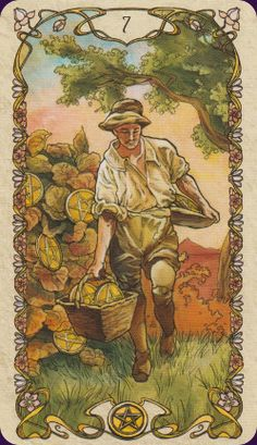 Tarot Mucha - Seven of Pentacles-a difficult work decision must be made. Care and forethought are needed. The question arises whether to continue to develop what one has built or to put energy into a new project.