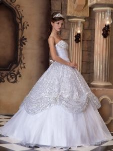 Strapless Pick-ups Sequins White Ball Gown Dress For Quinceanera - $199.78