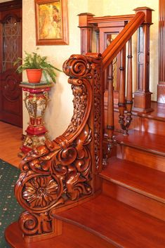 fantastic carving wood stairs handrail Wood Stair Handrail, Stairs And Staircase, Wooden Stairs, Grand Staircase, Staircase Design, Railings, Banisters, Victorian Interiors, Victorian Homes