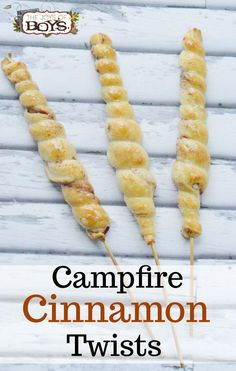 These Campfire Cinnamon Twists are so yummy! Make this simple camping dessert for your next campout or backyard bonfire. Click to see how easy these are to make.